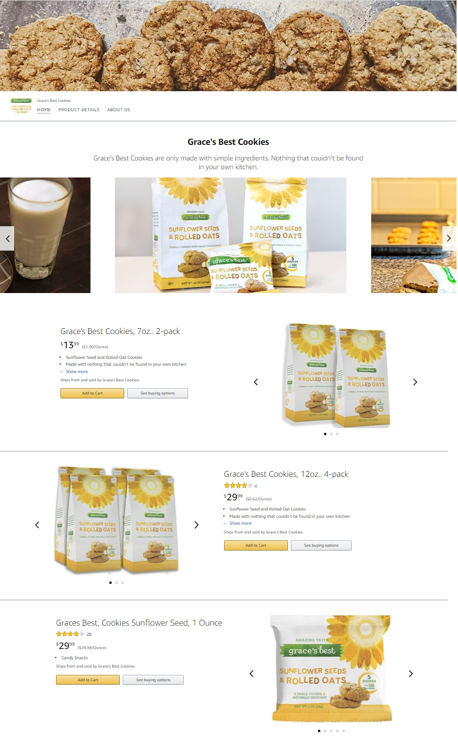 Grace's Best Cookies Amazon storefront