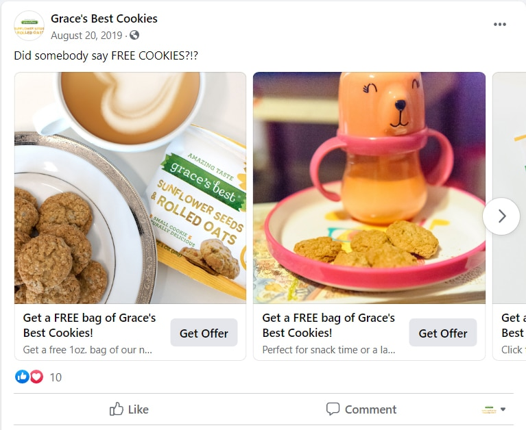 Grace's Best Cookies social media ad campaign